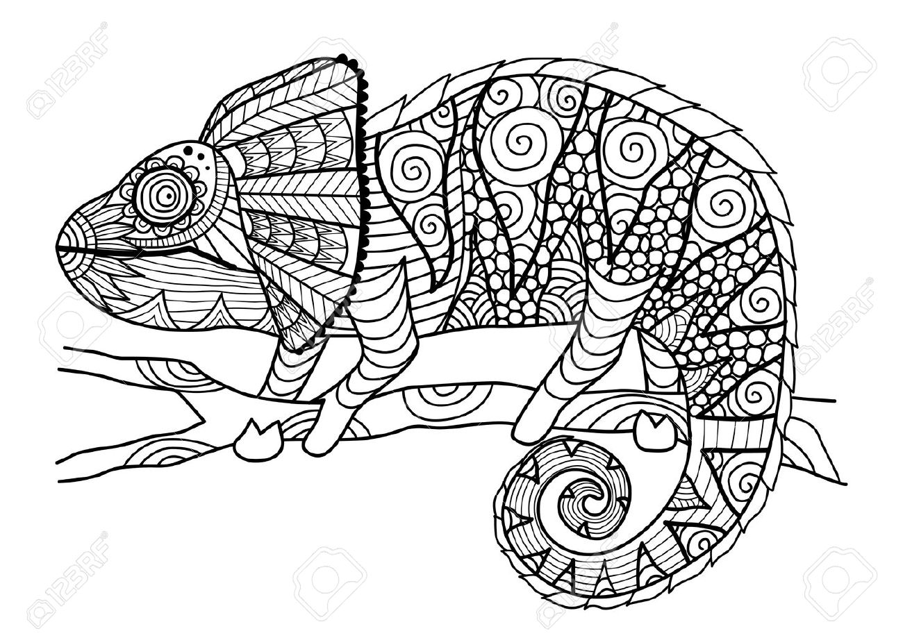 Chameleon Style Hand Drawn Chameleon Style For Coloring Book Shirt Design Effect