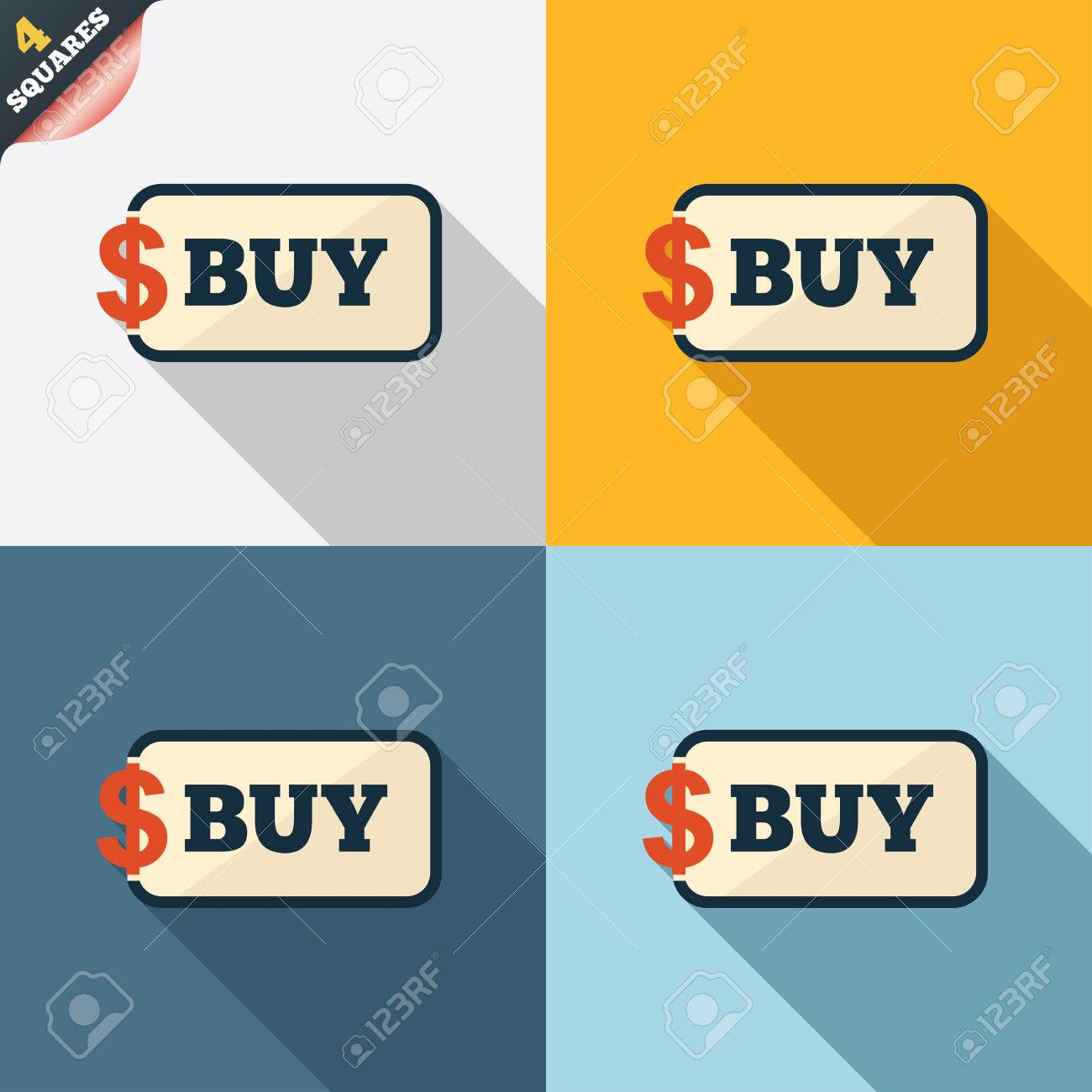 Buy Sign Icon Online Buying Dollar Usd Button Four Squares Colored Flat  Design Download How To