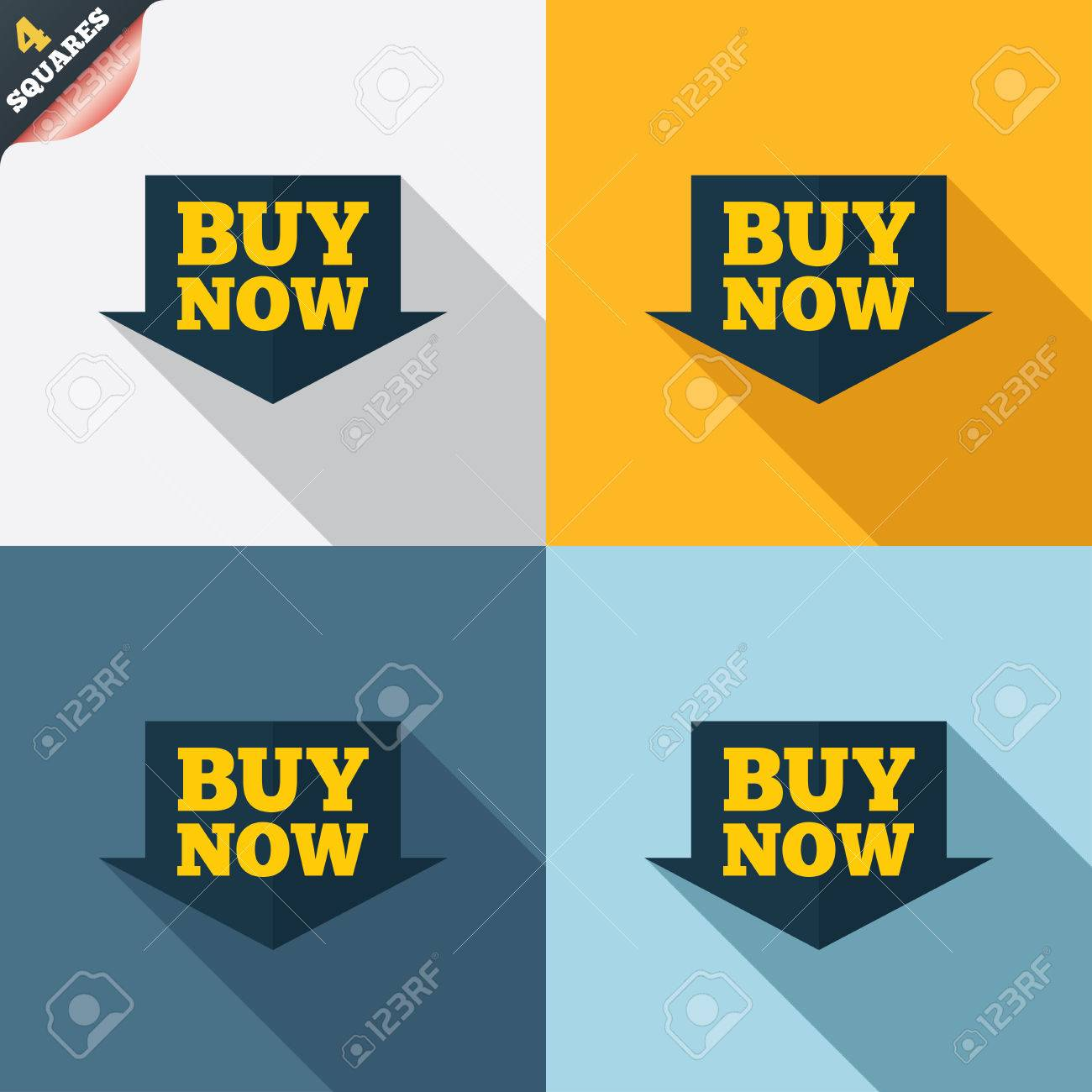 Bank Of America's Stock Buy Now Sign Icon Online Buying Arrow Button Four  Squares Colored Flat