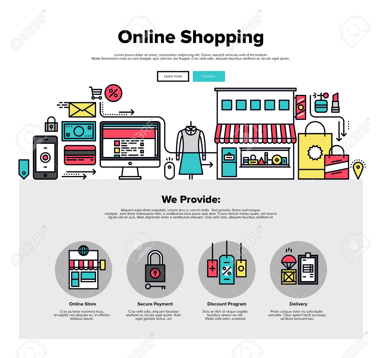 Design Shop Online One Page Web Design Template With Thin Line Icons Of Shopping