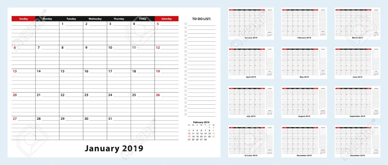 Monthly Desk Pad Calendar, January 2019 - December 2019 Calendar