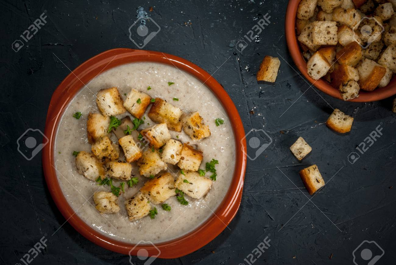 Classic Table Side Dishes Mushroom Soup With Croutons And Herbs In The Classic Dishes