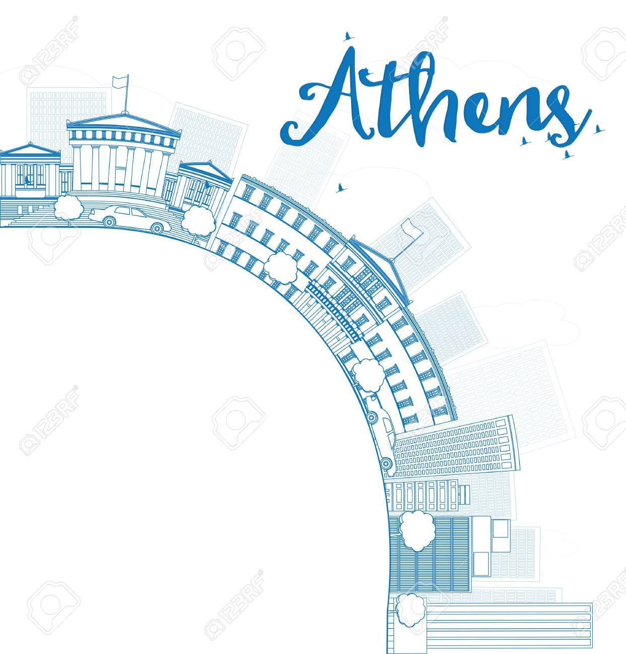 Outline athens skyline with blue buildings and copy space vector illustration stock vector 43084355