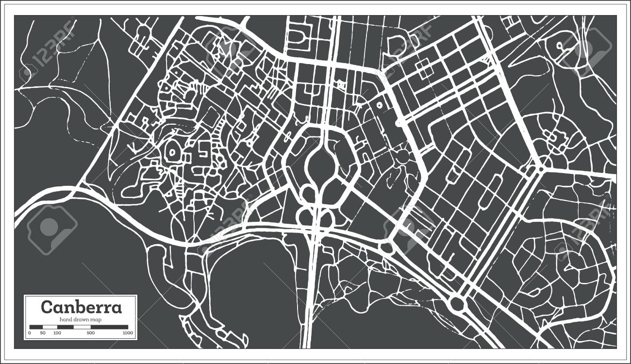 Map Of Canberra Canberra Australia City Map In Retro Style Outline Map Vector