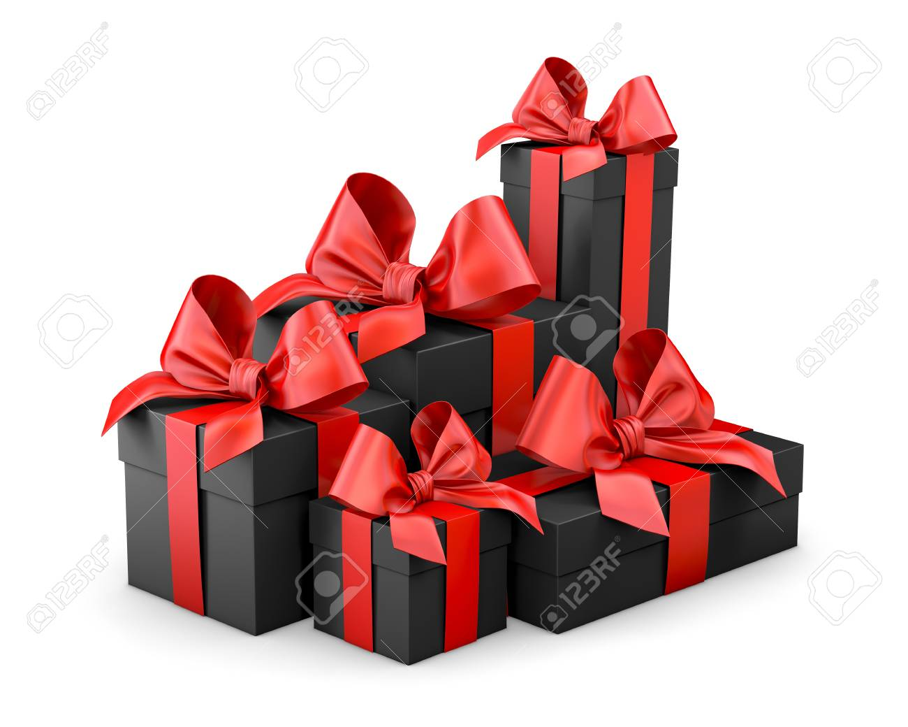 Black Gift Boxes Christmas And New Year S Day Group Pile Red Black Gift Boxes