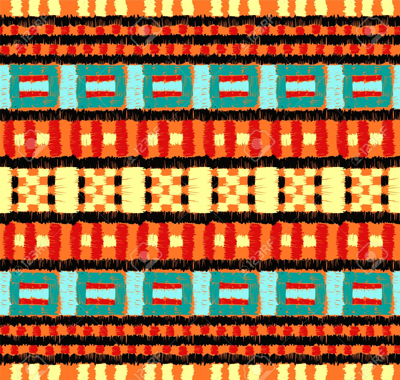 Aztec Tapijt Tribal Vector Ornament Seamless African Pattern Ethnic Carpet With Chevrons Aztec Style Geometric Mosaic On The Tile Majolica Ancient Interior