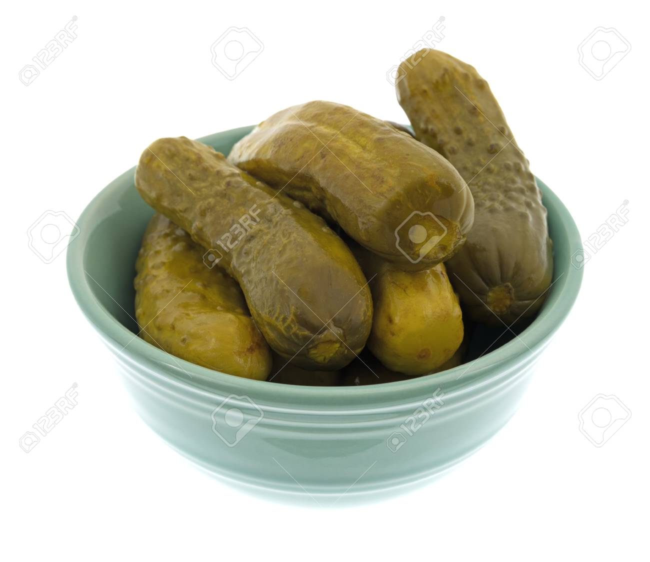Kosher Pickles A Bowl Filled With Kosher Baby Dill Pickles Isolated On A White