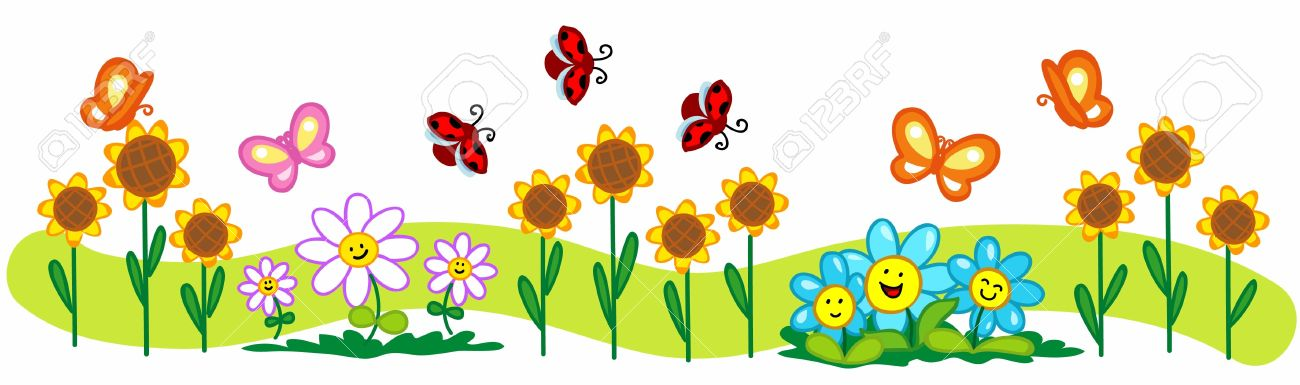 Cartoon Spring Illustration A Line Of Flowers, Cute Butterflies
