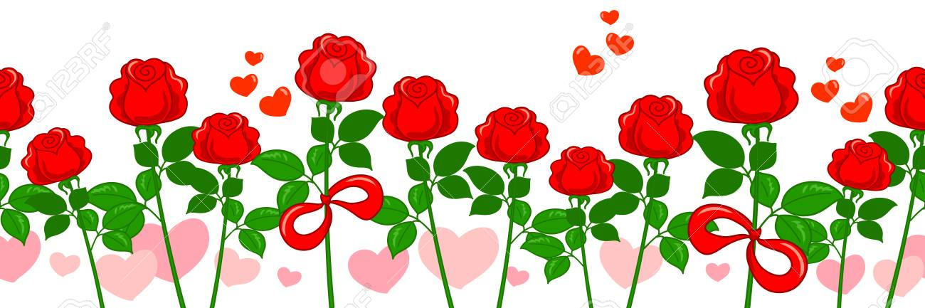 Rosas Rojas Y Corazones Rosas Golpeteo Horizontal Inconsútil Del