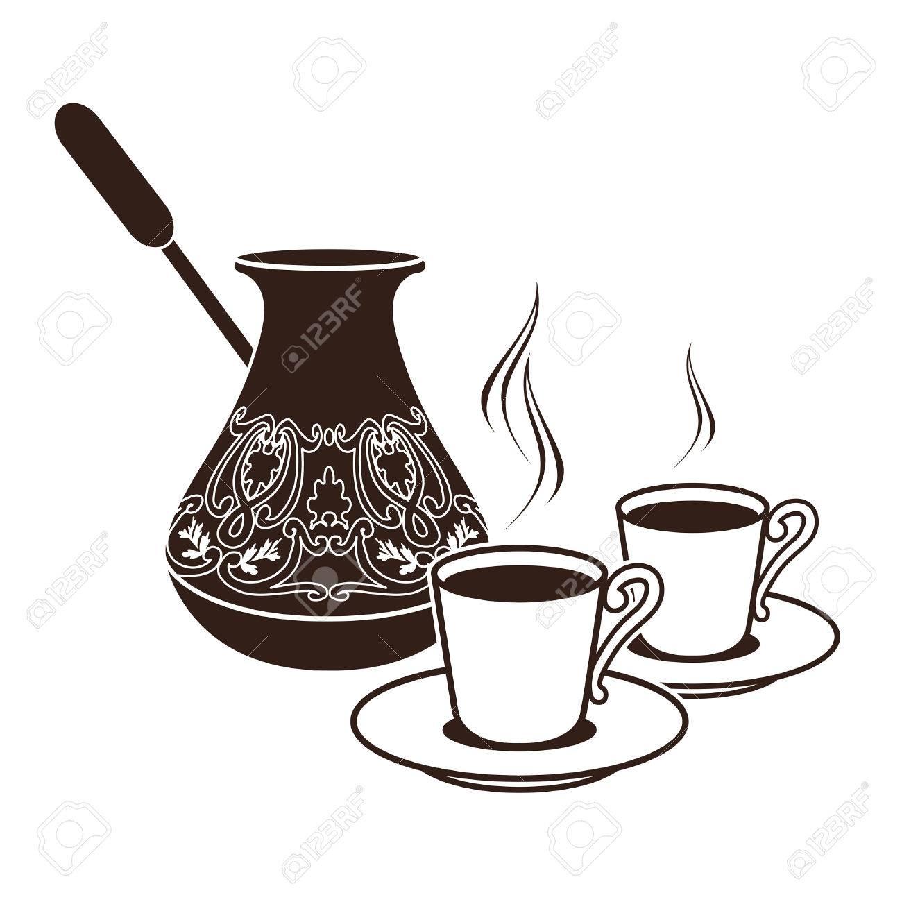 Pretty Hot Turkish Coffee Pots Two Cups Stock Vector Hot Turkish Coffee Pots Two Cups Royalty Free Vectors Espresso Turkish Coffee Cups furniture Turkish Espresso Cups