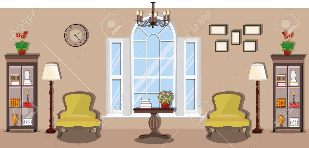 Stylish Furniture Stylish Vintage Room With Large Panoramic Window Elegant Interior