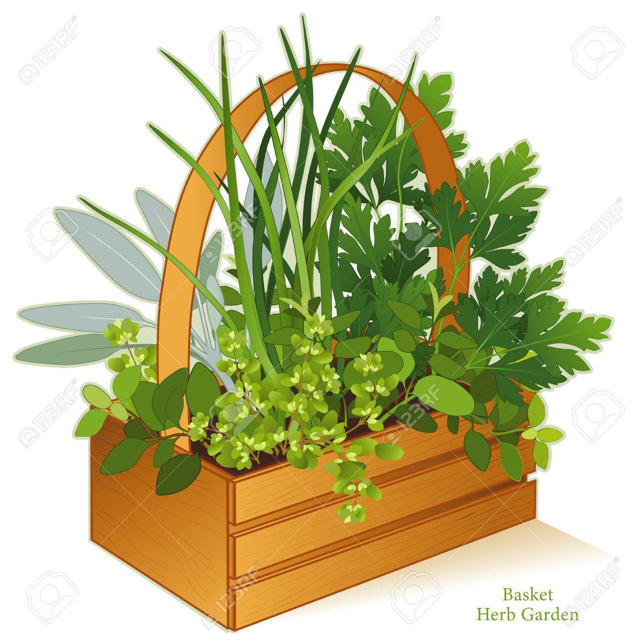 Planter For Herbs Herb Garden In Wood Basket Planter With Gourmet Cooking Herbs