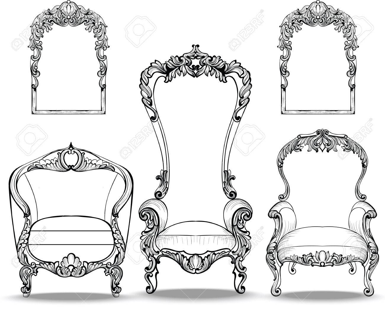 Fauteuils Baroques Fauteuils Baroques Impériaux Serties D Ornements Luxueux Vector French Luxury Structure Complexe Riche Décor De Style Victorien Royal