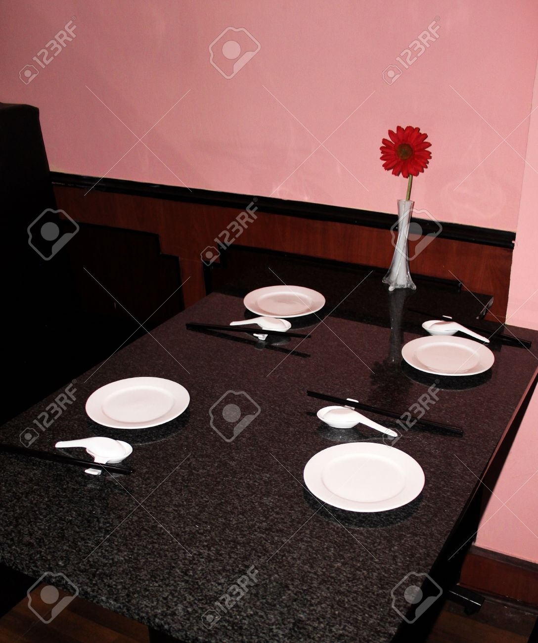 Simple table setting at a chinese restaurant on marble table top stock photo 14017658
