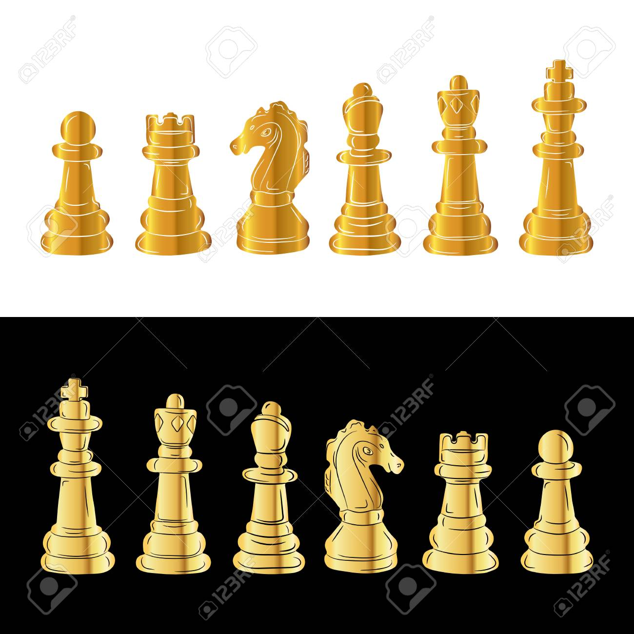 Gold Chess Pieces Set Of Gold Chess Figures Vector Illustration Golden Chess Pieces