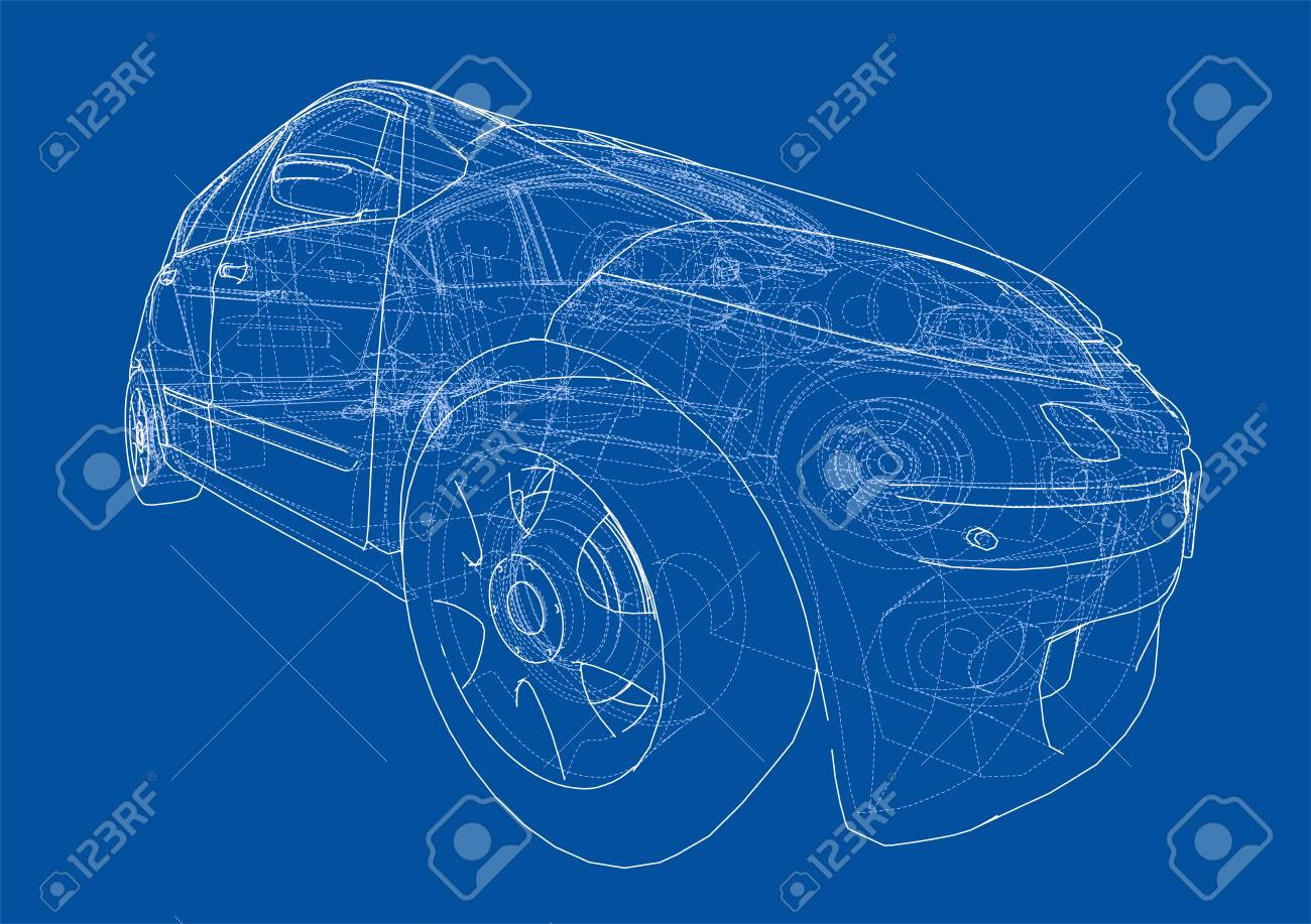 Jaguar Xj13 Blueprint Car Sketch Vector