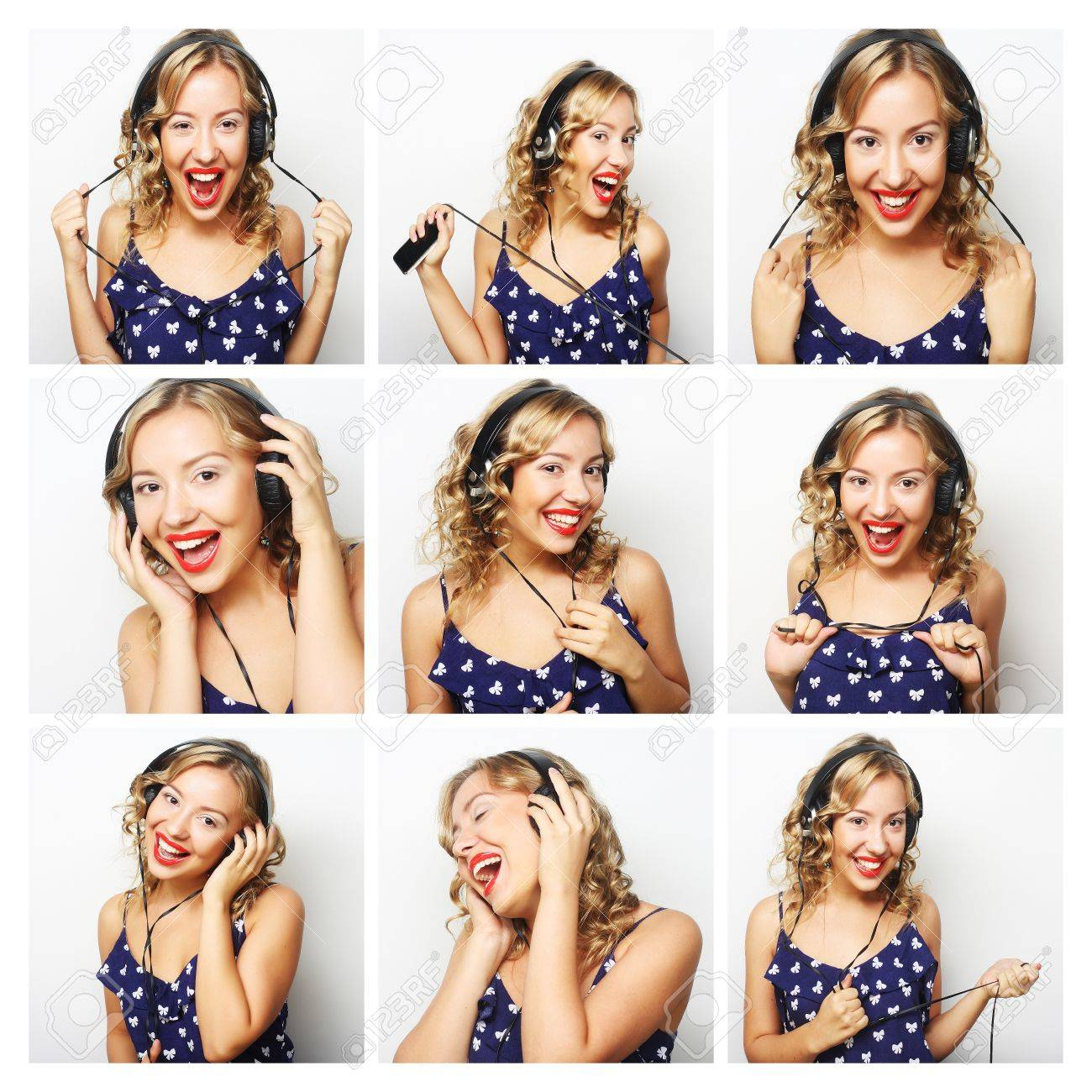 Collage Fotos Collage Of Young Woman Face Expressions Composite Woman Listening To Music