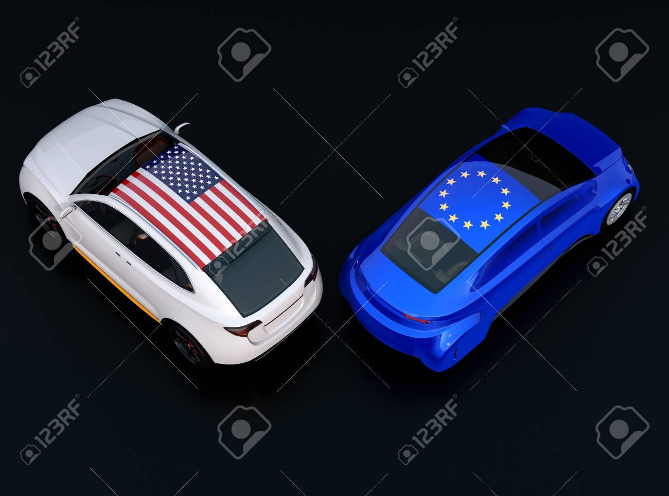 Eu And Us Flags On Two Automobiles Roof Car Top Black Background Stock Photo Picture And Royalty Free Image Image 104422228