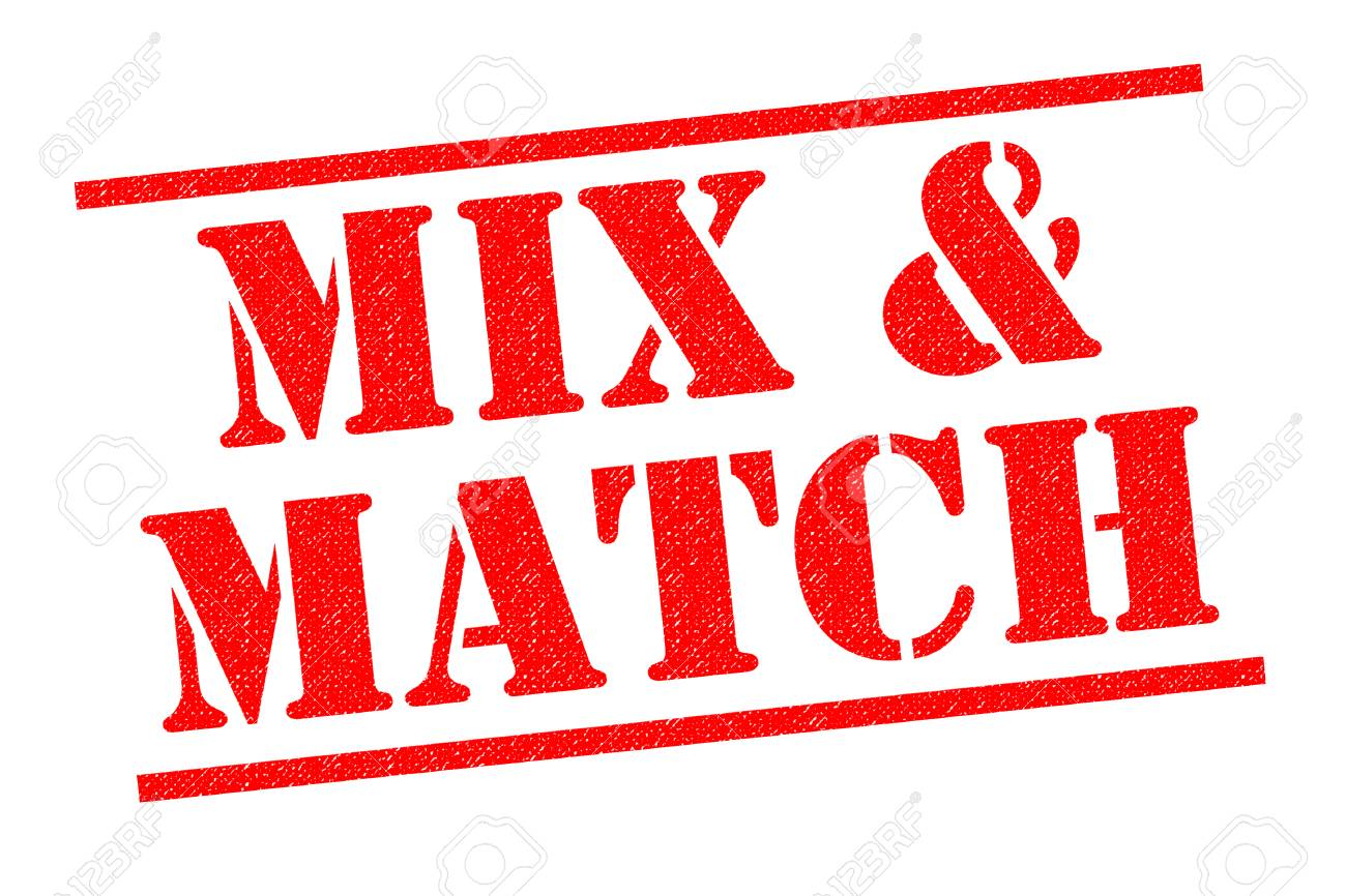 Mix And Match Mix And Match Red Rubber Stamp Over A White Background