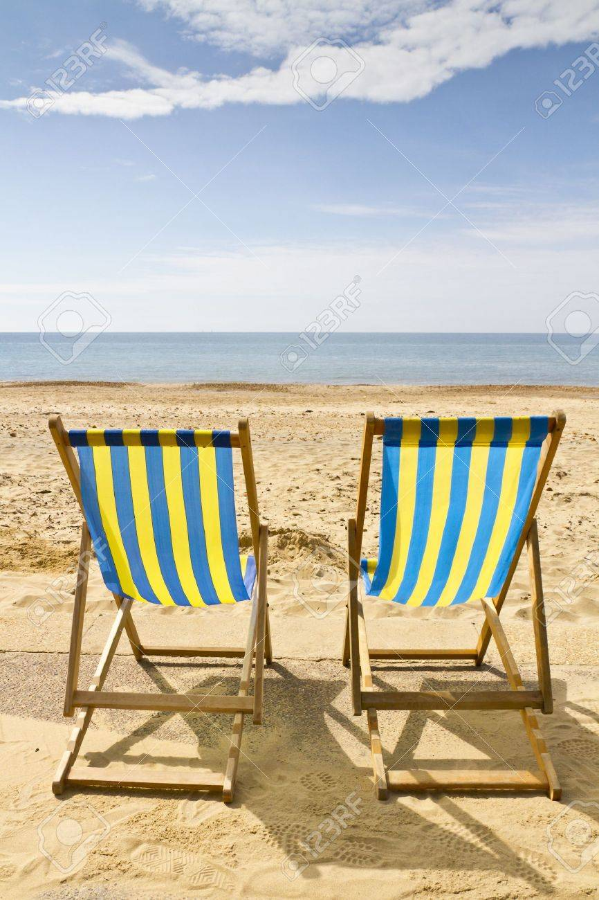 Two Deck Chairs On The Beach At Bournemouth Dorset Uk On A Bright Stock Photo Picture And Royalty Free Image Image 14109035