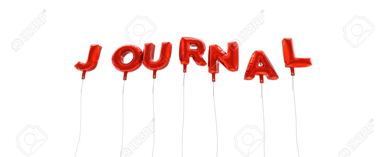 JOURNAL - Word Made From Red Foil Balloons - 3D Rendered Can