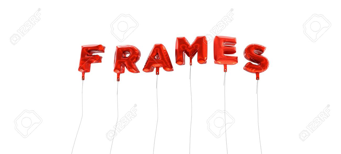 FRAMES - Word Made From Red Foil Balloons - 3D Rendered Can Stock