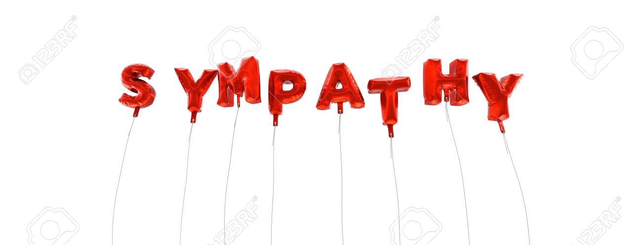 SYMPATHY - Word Made From Red Foil Balloons - 3D Rendered Can