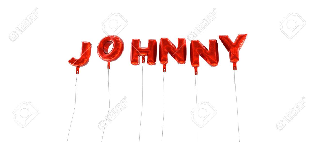 JOHNNY - Word Made From Red Foil Balloons - 3D Rendered Can Stock