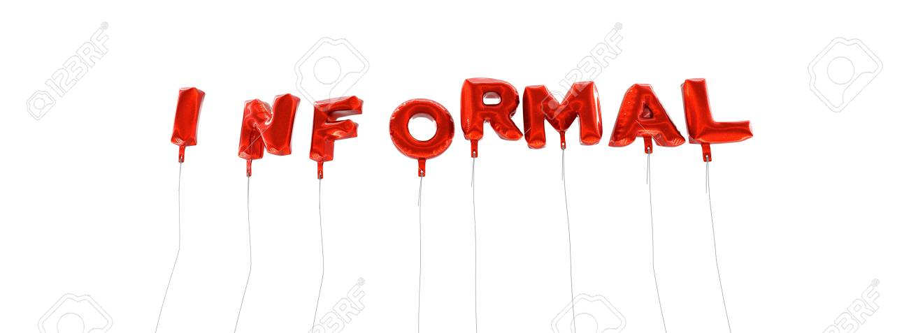 INFORMAL - Word Made From Red Foil Balloons - 3D Rendered Can