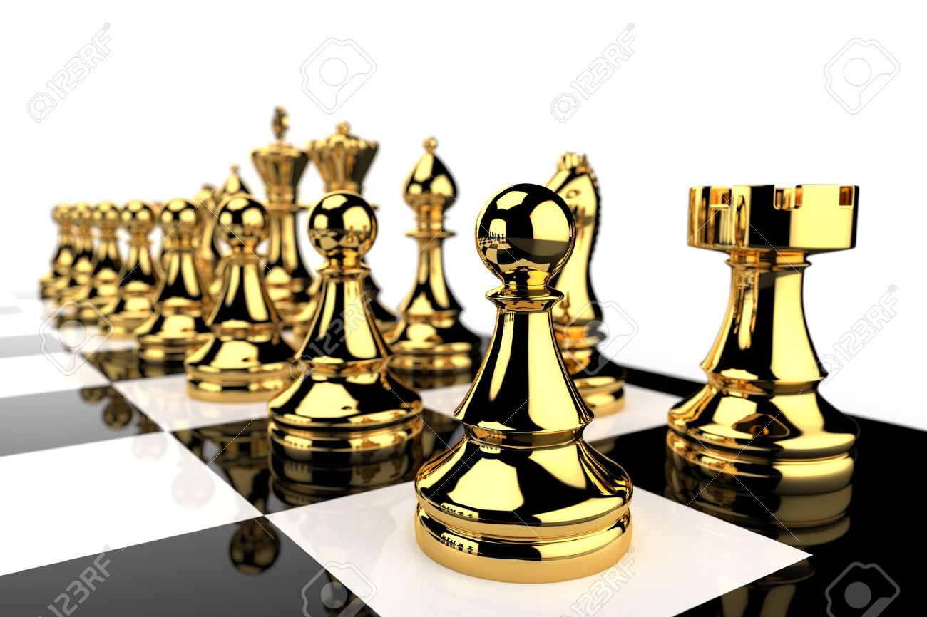 Gold Chess Pieces Black And White Chess Board And Golden Pieces