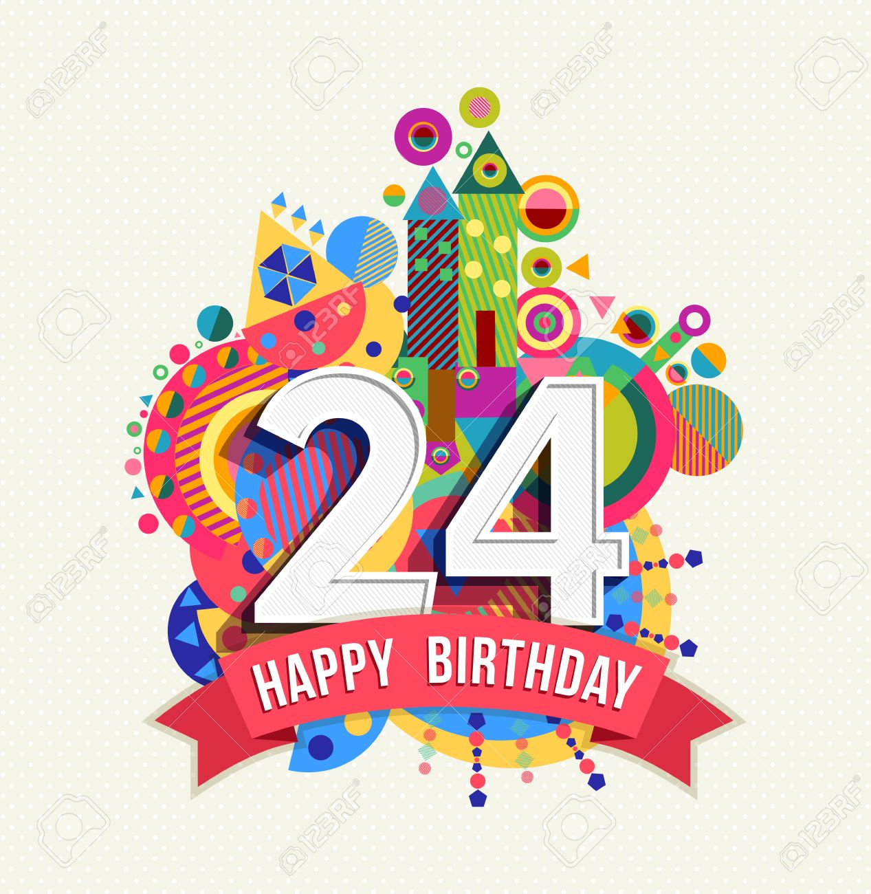 Happy Birthday Twenty Four 24 Year Royalty Free Cliparts Vectors And Stock Illustration Image 52425940