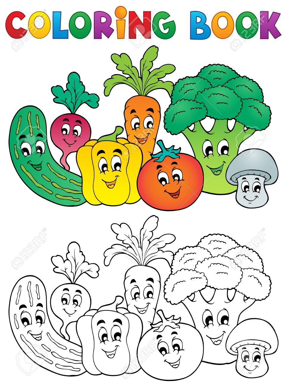 Coloring book pictures of vegetables - Coloring Book Coloring Book Vegetables Theme Illustration