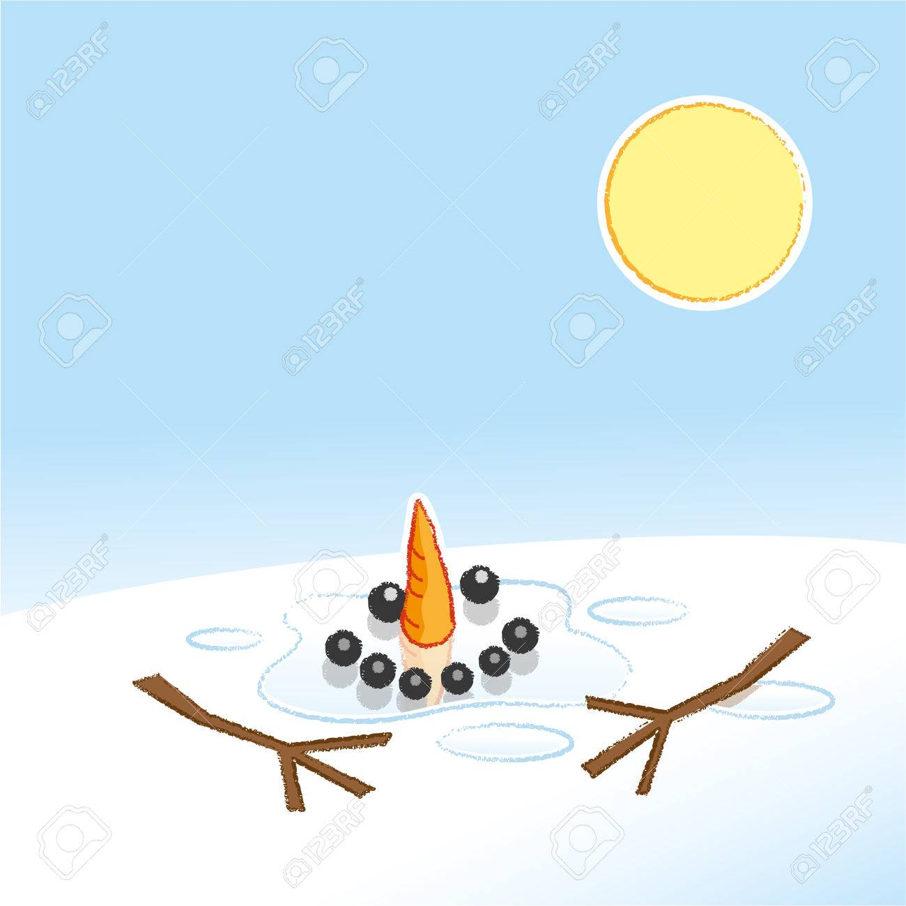 Happy Melting Snowman With Carrot Nose And Stick Arms In Pool Royalty Free Cliparts Vectors And Stock Illustration Image 64615983