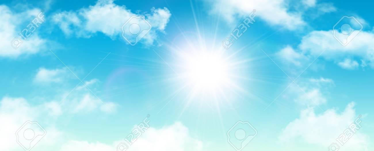 Sunny Fondo, El Cielo Azul Con Nubes Blancas Y El Sol, Ilustración - fondo nubes