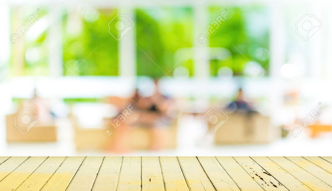 Empty wood table and blurred living room background stock photo 34670442