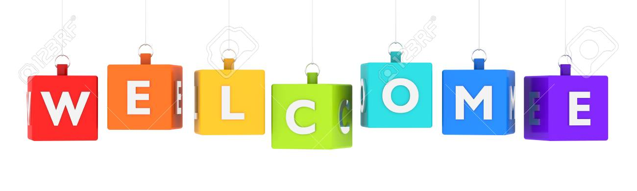 Welcome Word Text On Glossy Colored Cubes Hanging On White