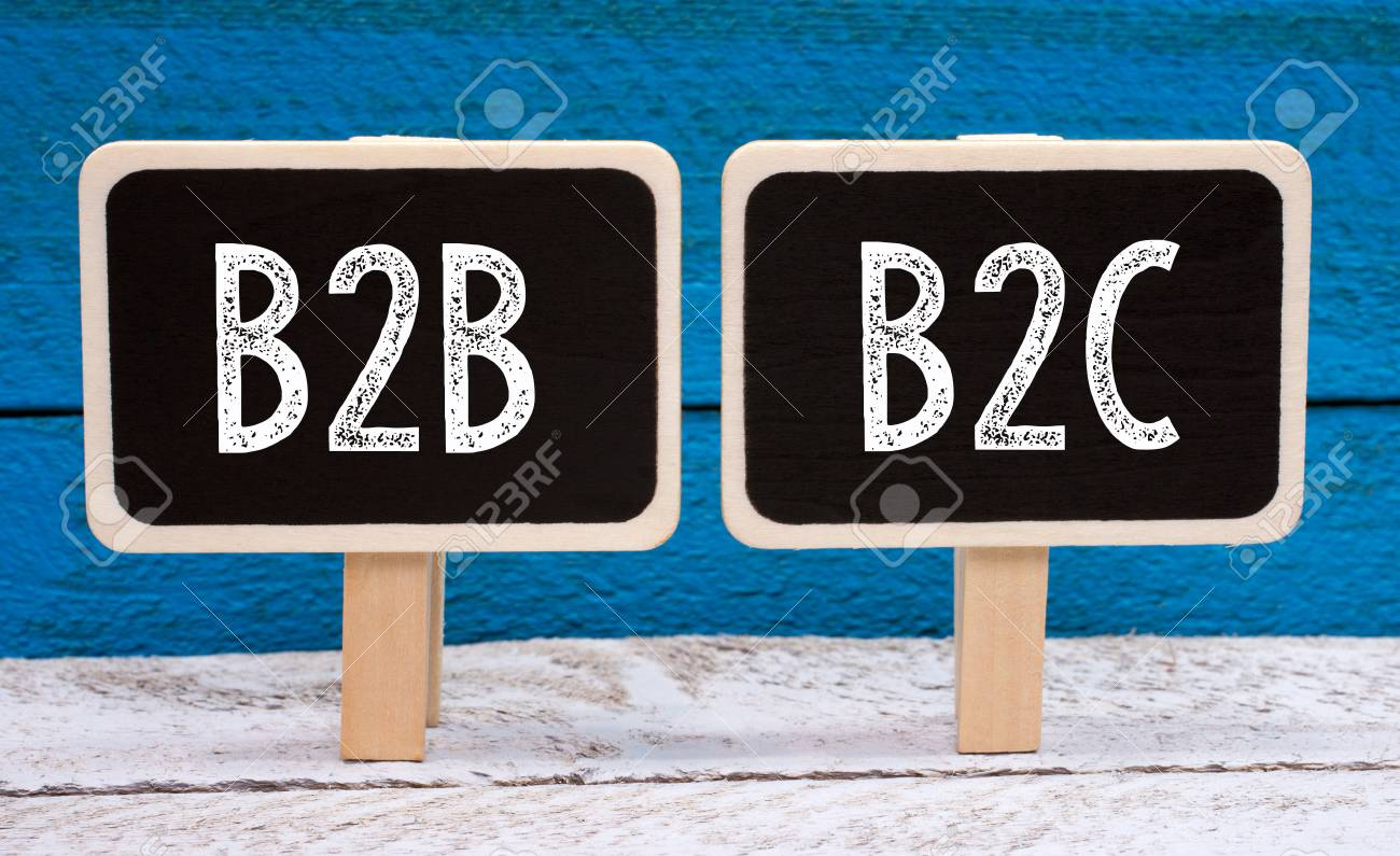 Kleine Schoolbordjes B2b And B2c Business Two Little Chalkboards With Text