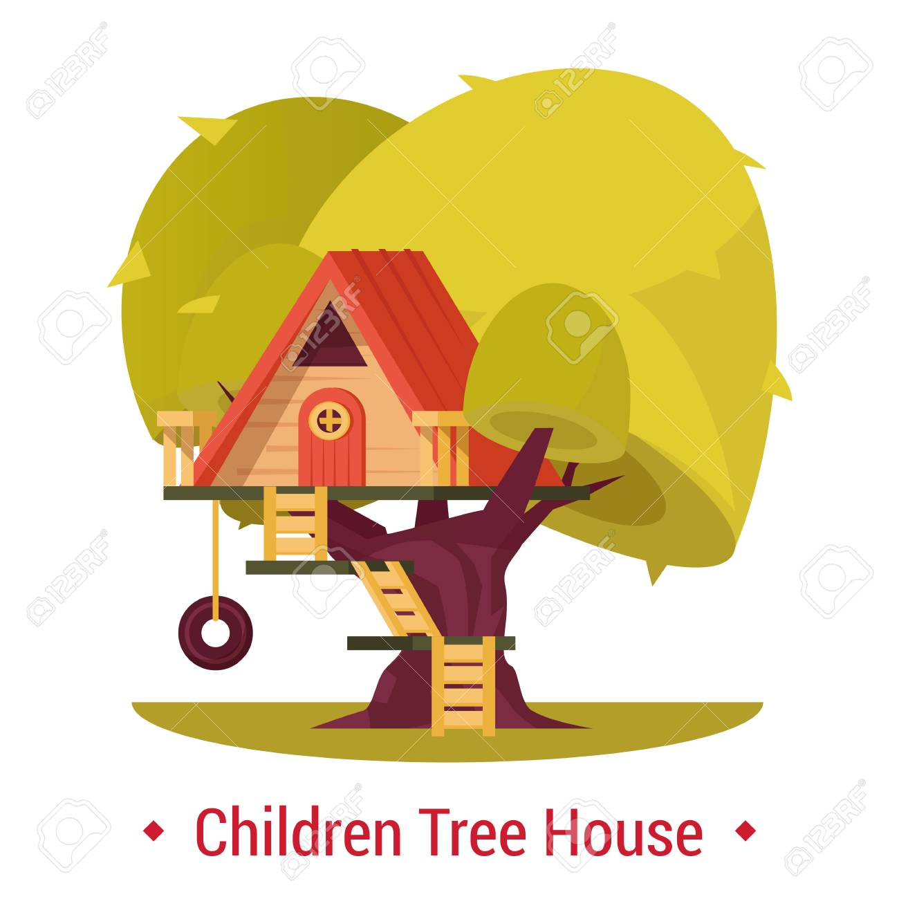 Playground Shelter For Children Tree House With Fence For Kids Royalty Free Cliparts Vectors And Stock Illustration Image 104547302