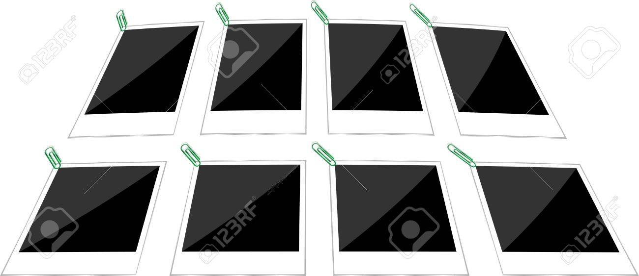 Retro Paper Photo Frames Templates Set Stock Photo, Picture And