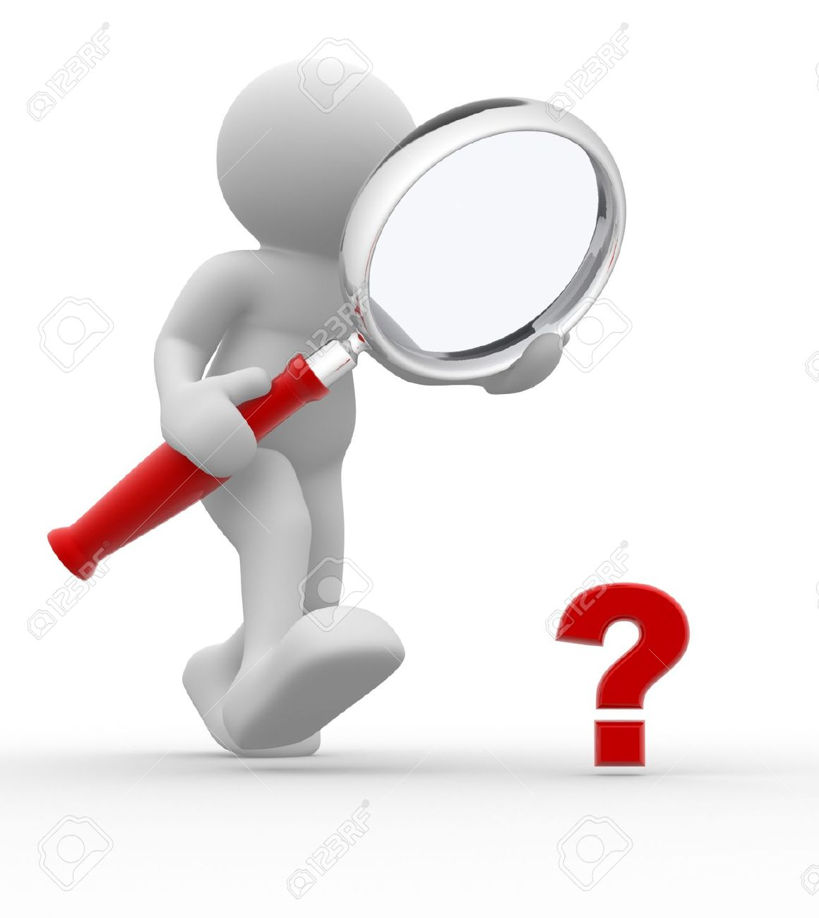 3d people man person with magnifying glass question mark red search stock photo
