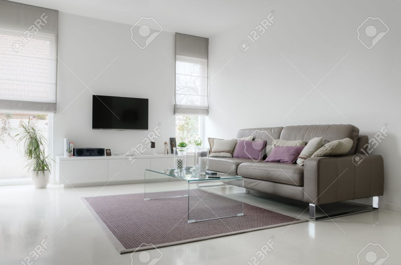 Ledersofa Weiss Stock Photo
