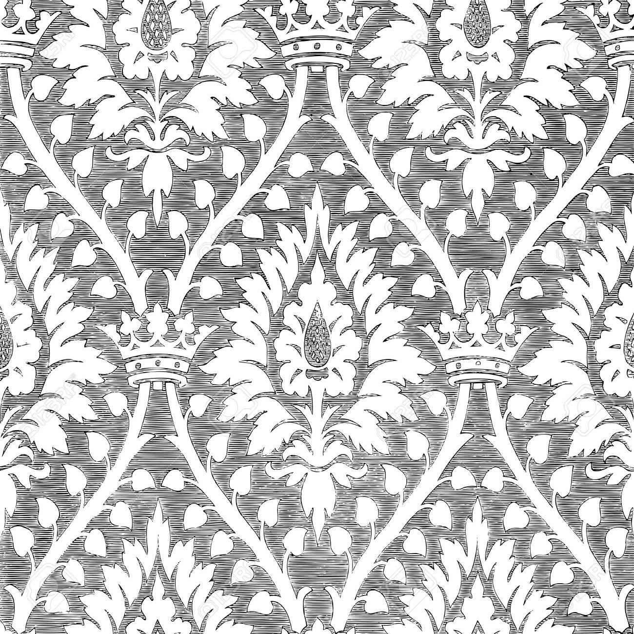 Vintage Metallregal Abstract Hand-drawn Floral Seamless Pattern With Crown, Vintage.. Royalty Free Cliparts, Vectors, And Stock Illustration. Image 42063881.