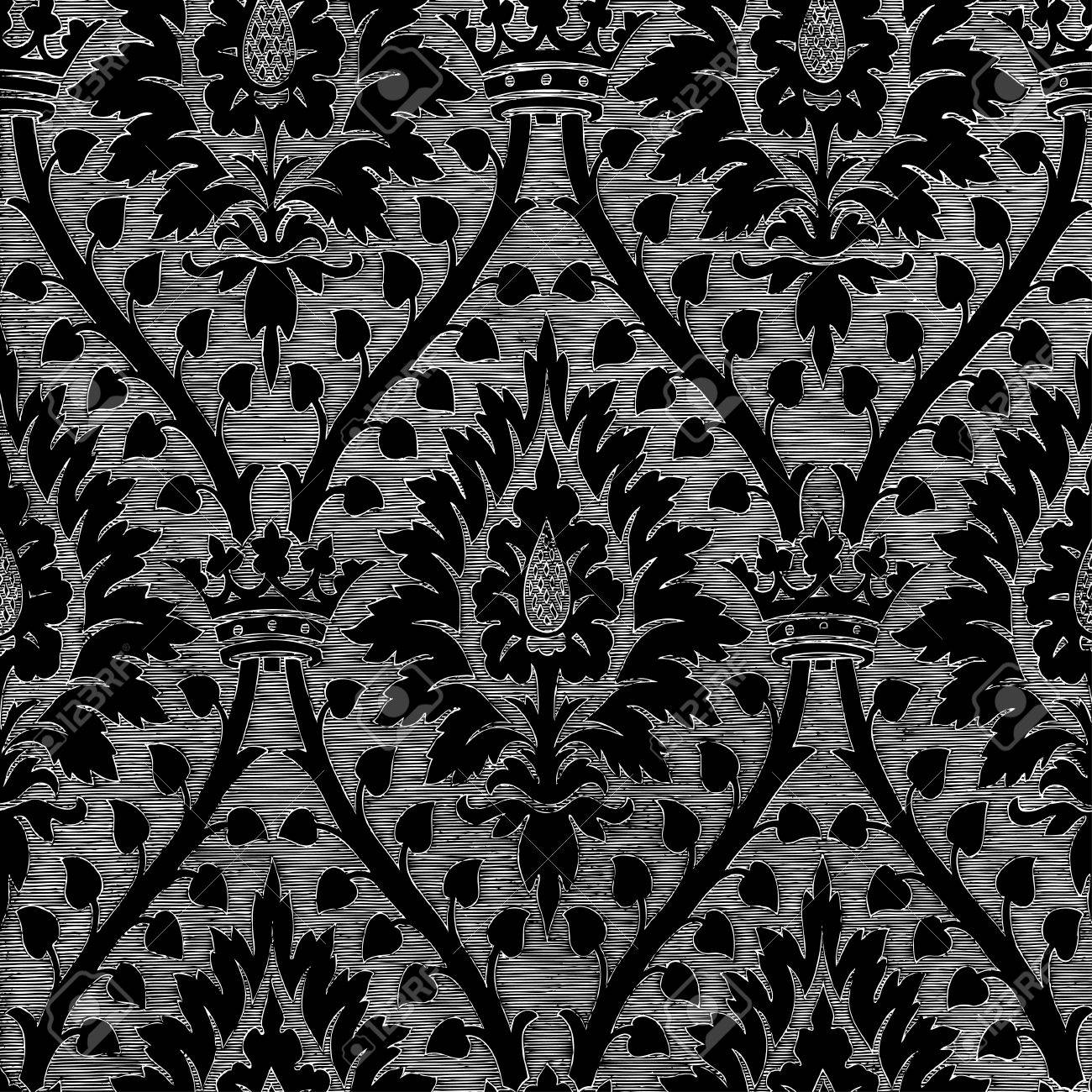Vintage Metallregal Abstract Hand-drawn Floral Seamless Pattern With Crown, Vintage.. Royalty Free Cliparts, Vectors, And Stock Illustration. Image 42063882.