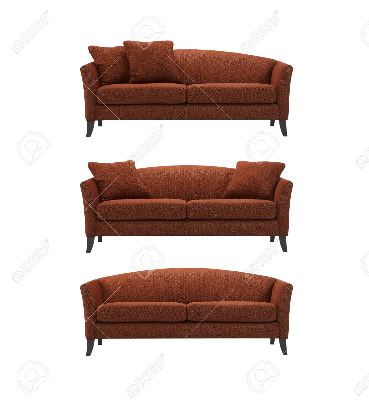 Curved Sofa Red Curved Sofa With And Without Pillows Isolated On White