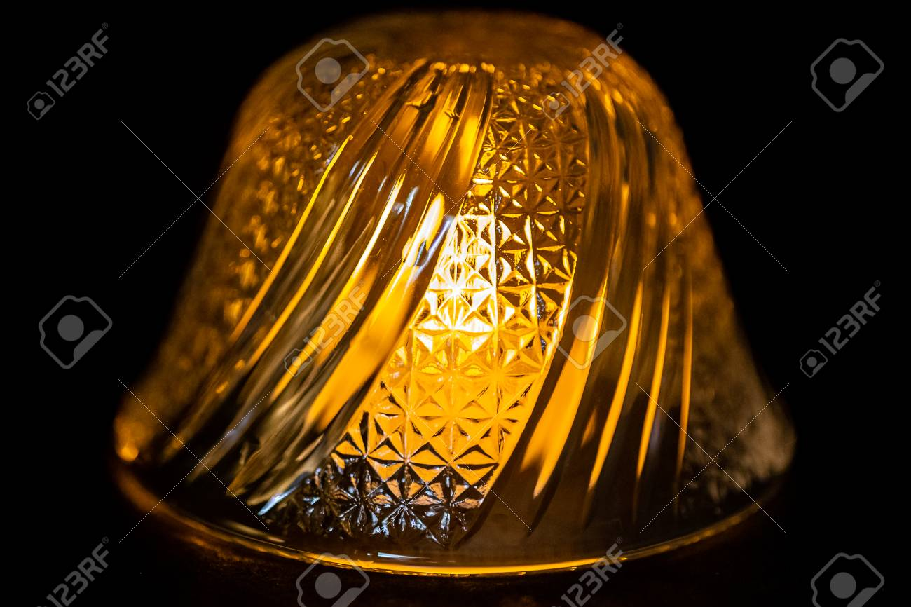 Glass Lamp Bowl A Light Is Lit Under A Small Decorative Cut Glass Bowl