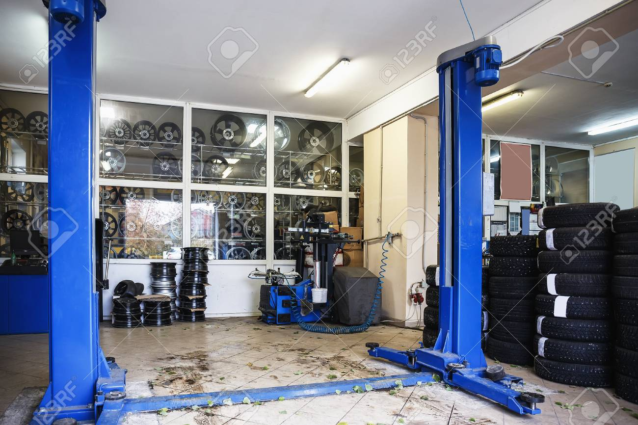 Garage Gym With Car Car Or Auto Repair Station Or Automotive Service Industry Garage