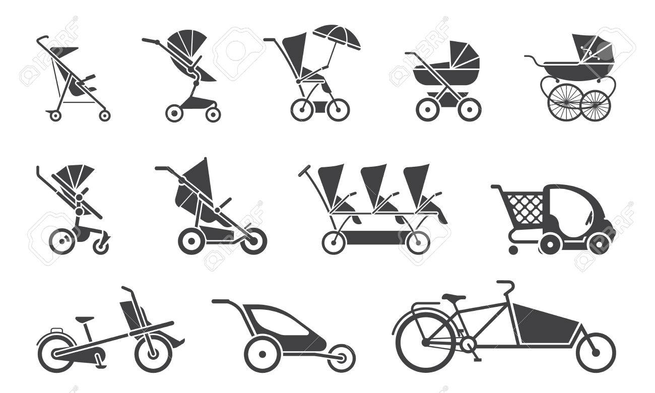 Carriage Type Strollers Set Of Various Baby Strollers And Other Types Of Baby Rides