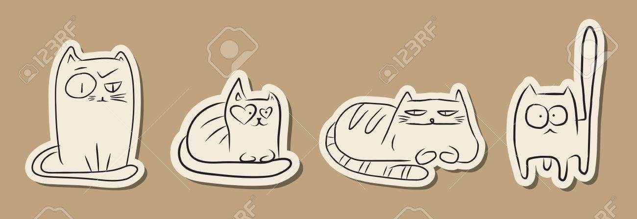 Hand Drawn Paper Cut Sketches Of Funny Cats Over Vintage Brown - background sketches
