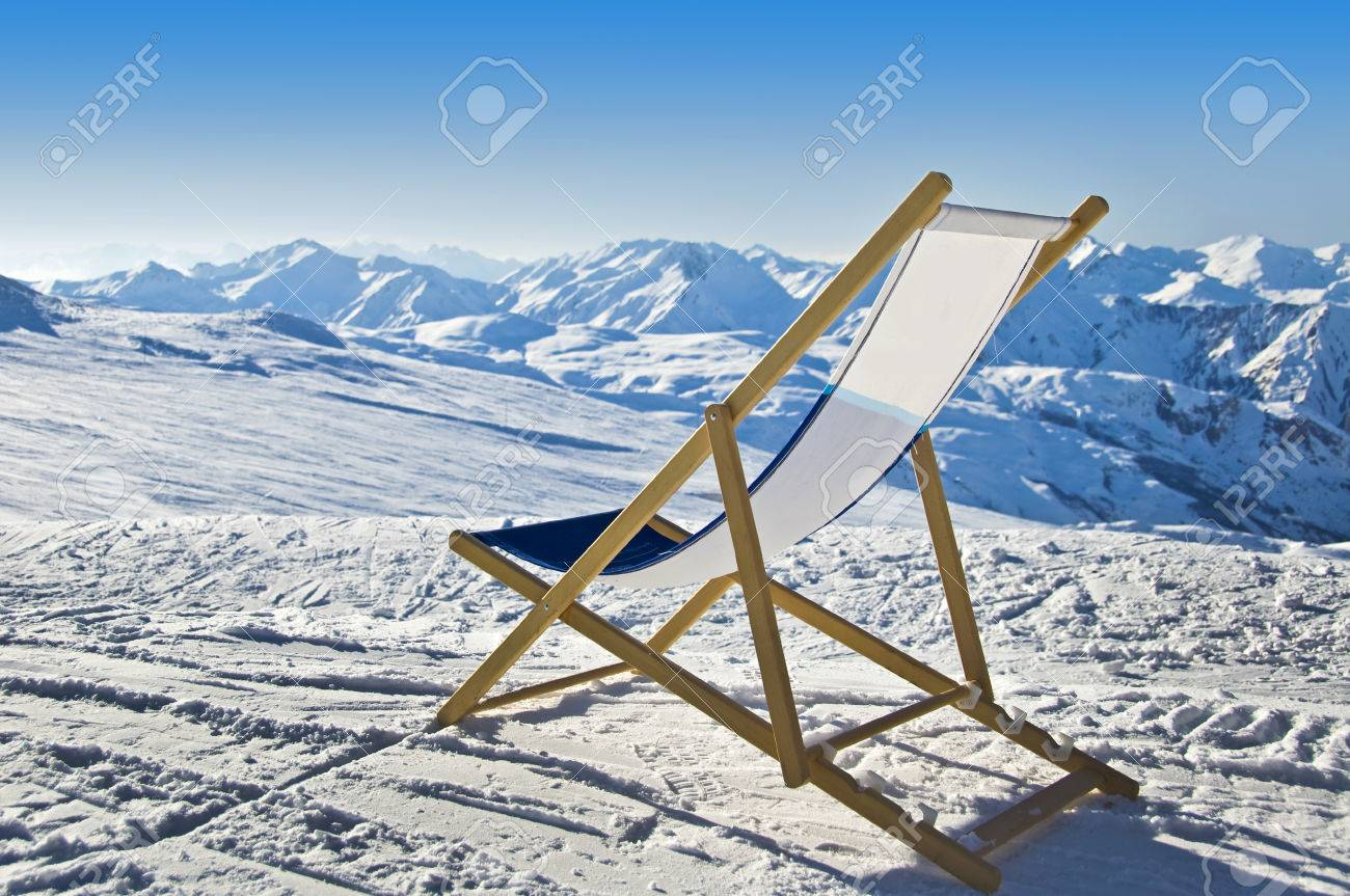 Liegestuhl Im Schnee Deckchair In The Snow Facing The Alps Mountains