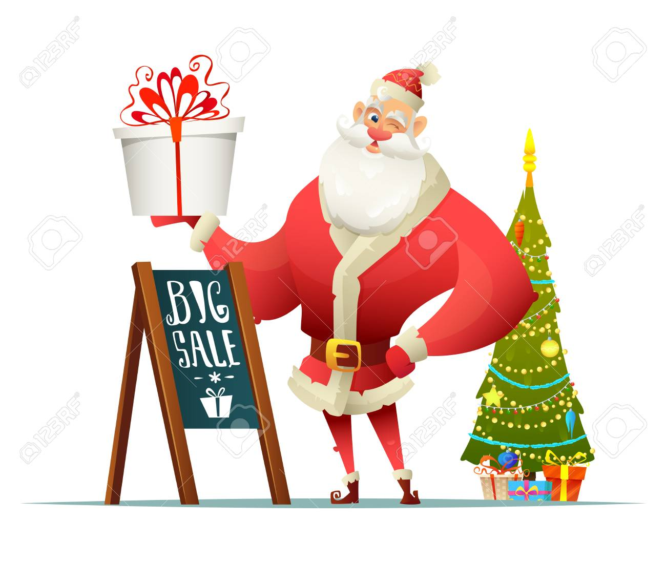 Christmas Tree Stand For Sale Santa Holding A Present In His Hand Nearby Stand Big Sale Sign